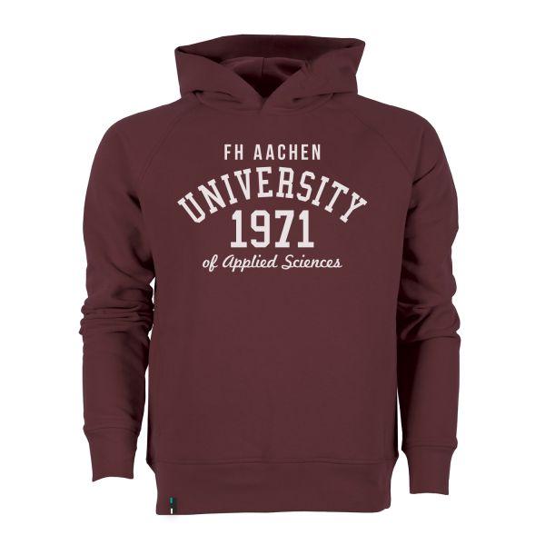 Herren Organic Hooded Sweatshirt, burgundy, elisen